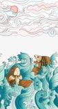 Sömlös modell med japanska karpar Tegelplattabakgrund för design, tygtextil royaltyfri illustrationer