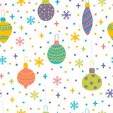 Sömlös modell med julleksaker, bollar och bubblor Gullig bakgrund med färgrika designbeståndsdelar vinter för snow för pojkeferie stock illustrationer