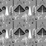 Sömlös modell med julträd och snöar på grå färger royaltyfri illustrationer