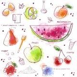 Sömlös modell med kökobjekt Stilfulla frukter: vattenmelon päron, citron, jordgubbar, persika, körsbär många bakgrundsklimpmat me Royaltyfri Bild