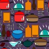 Sömlös modell med köksgeråd Arkivbild