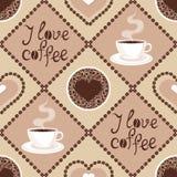Sömlös modell med kaffe  Royaltyfri Bild