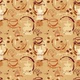 Sömlös modell med kaffekoppar, bönor, molar, kaffefläck, Royaltyfri Fotografi