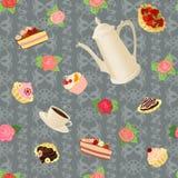 Sömlös modell med kaffekrukan, koppar, kakor och rosor royaltyfri illustrationer