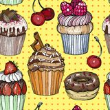 Sömlös modell med kakor och muffin, chokladefterrätt, färgrikt bageri, design för popkonst royaltyfri illustrationer
