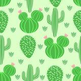 Sömlös modell med kaktuns i skandinavisk stil - vektorillustration, eps stock illustrationer