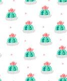 Sömlös modell med kakturs i blomkrukor och rosa trianglar på vit bakgrund Prydnad för textil och inpackning vektor Royaltyfria Bilder