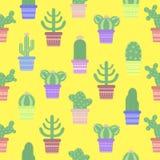 Sömlös modell med kakturs i en kruka Symbol av kaktusblomman Arkivfoton