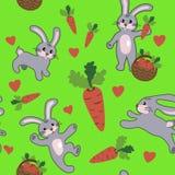 Sömlös modell med kanin Stock Illustrationer