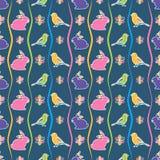 Sömlös modell med kanin, fåglar och blommor stock illustrationer