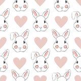 Sömlös modell med kanin och hjärtor royaltyfri bild