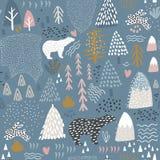 Sömlös modell med kaninen, isbjörnen, skogbeståndsdelar och hand drog former Barnslig textur Utmärkt för tyg, textilvektor arkivbilder