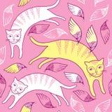 Sömlös modell med katten och vingar Stock Illustrationer