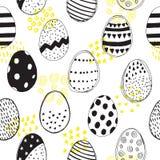 Sömlös modell med klotter för easter ägg vektor illustrationer