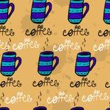Sömlös modell med knapphändiga kaffekoppar Arkivfoton