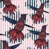 Sömlös modell med kolibrin, hibiskus Stock Illustrationer