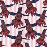 Sömlös modell med kolibrin och Stock Illustrationer