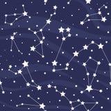 Sömlös modell med konstellationer vektor för stjärnor för bakgrundsillustrationavstånd Royaltyfri Foto