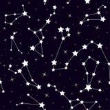 Sömlös modell med konstellationer vektor för stjärnor för bakgrundsillustrationavstånd Royaltyfri Bild