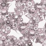 Sömlös modell med konturer av kaniner och vildblommor royaltyfri illustrationer