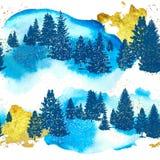 Sömlös modell med konturskogträd, guldslaglängder och vattenfärgtextur också vektor för coreldrawillustration stock illustrationer