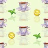 Sömlös modell med koppar, citronen och M för vattenfärgporslinte Royaltyfri Bild