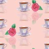 Sömlös modell med koppar och rosor för vattenfärgporslinte på Arkivbild