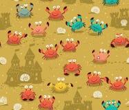 Sömlös modell med krabbor och sandslottar Royaltyfri Foto