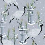 Sömlös modell med kranar och snöfall stock illustrationer