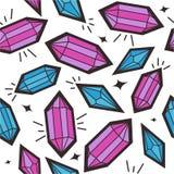 Sömlös modell med kristaller vektor illustrationer