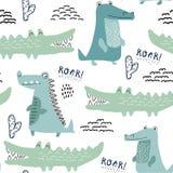 Sömlös modell med krokodilen, bakgrund för ungetyg, textil, barnkammaregarnering, inpackningspapper vektor royaltyfri illustrationer