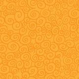Sömlös modell med krullning på orange bakgrund Royaltyfria Bilder