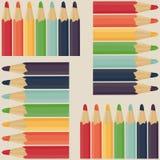 Sömlös modell med kulöra blyertspennor royaltyfri illustrationer