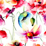Sömlös modell med lösa blommor Arkivfoton