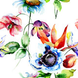 Sömlös modell med lösa blommor Arkivbild