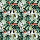 Sömlös modell med leoparder och tropiska sidor Vektor Illustrationer