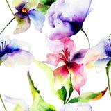Sömlös modell med liljablommor Arkivfoto