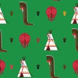 Sömlös modell med ljust - grön bakgrund Amerikansk infödd indierhousware som tipi, maskeringen för falsk framsida och kriget sätt Arkivfoton