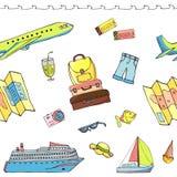 Sömlös modell med loppobjekt inklusive resväskan, nivå, kryssningeyeliner, översikt, solglasögon, hatt, biljett, yacht, kortslutn royaltyfri illustrationer