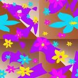 Sömlös modell med mång--färgade beståndsdelar i form av stiliserade blommor och abstrakta fläckar vektor illustrationer