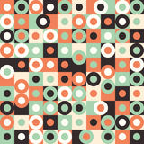 Sömlös modell med mångfärgade stora cirklar och fyrkanter Royaltyfria Bilder