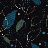 Sömlös modell med mönstrade sidor, stjärnor och sexhörningar Komplext illustrationtryck i blått, grönt, vitt, svart och gult vektor illustrationer