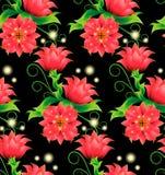 Sömlös modell med magiska röda blommor på svart Vektor Illustrationer