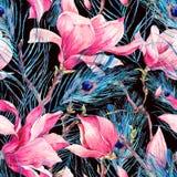 Sömlös modell med magnolia- och påfågelfjädern royaltyfri illustrationer