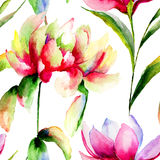 Sömlös modell med magnolia- och pionblommor Arkivbild