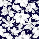 Sömlös modell med magnoliablommor och sidor på blå backgr Fotografering för Bildbyråer