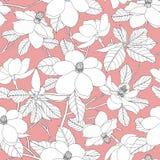 Sömlös modell med magnoliablommor och sidor på rosa backgr Arkivfoto