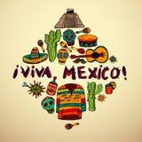 Sömlös modell med mexikanska symboler stock illustrationer