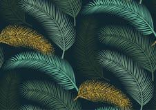 Sömlös modell med moderiktiga tropiska sommarmotiv, exotiska sidor och växter Arkivfoto