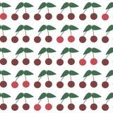 Sömlös modell med mogna körsbär Sommarkörsbär stock illustrationer